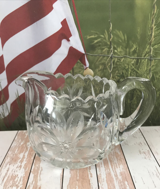 Creamer Vintage Etched Frosted Glass Crystal Clear 2 side Flower Kitchen Accent