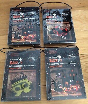 Waitrose Halloween Craft Kit Bundle- Party Activity Gifts: Masks Pom Pom - Halloween Masks Craft Activity