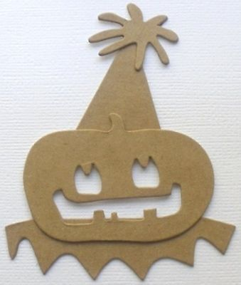 {3} PARTY PUMPKIN - Halloween Raw Bare Unfinished Chipboard Die Cuts - 4