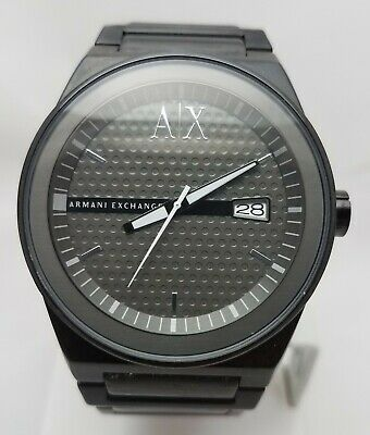 Mens Big Armani Exchange Black Watch AX 2030 Steel Band NewBatt EUC FREEUS48SHIP