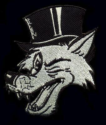 Big Bad Wolf Patch Badge Winking Top Hat Tattoo Rockabilly Punk Goth