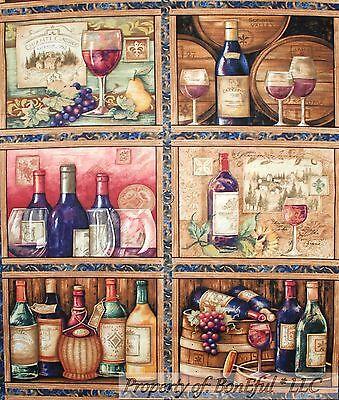 BonEful FABRIC Cotton Quilt Scenic Vineyard 6 L Block Panel Wood Wine Grape Pear French Pear Wine