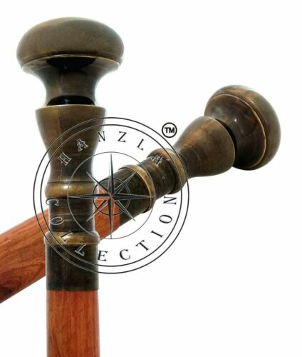 Vintage Brown Wooden Walking Stick Cane Antique Style Brass Knob Design Handle