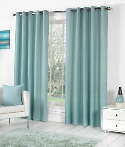 Sorbonne Plain Dyed Heavy Cotton Eyelet Ring Top Lined Curtains, Duck Egg Blue