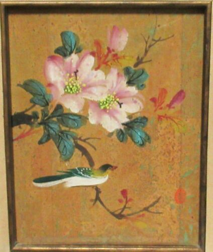 JAPANESE BIRD ON TREE ORIGINAL OIL ON CANVAS PAINTING SIGNED