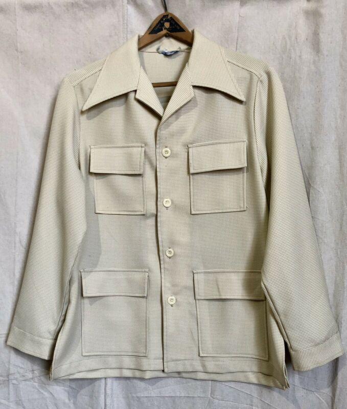 Vintage 1970s Moyer First Mates Poly Houndstooth Leisure Suit Jacket Mens Large