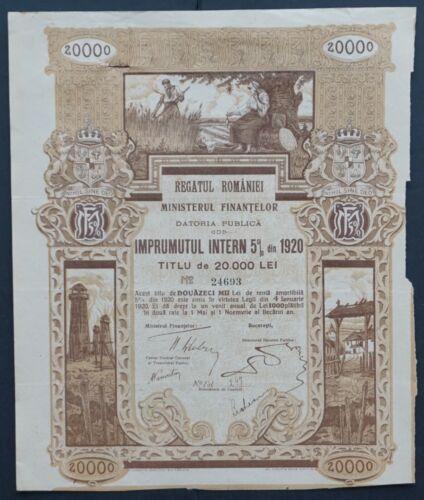 Romania - Romania State Internal Loan - 1920 - 5% bond for 20000 Lei