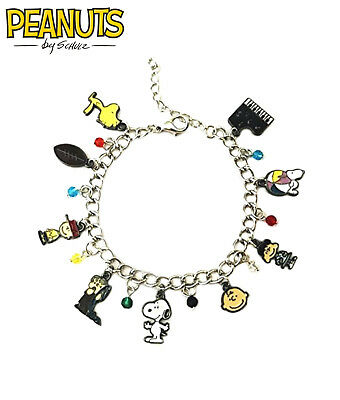 Peanuts Charlie Brown Snoopy (9 Themed Charms) Assorted Metal Charm Bracelet](Snoopy Bracelet)