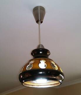 Vintage Brown and Yellow Pottery Pendant Light Fitting