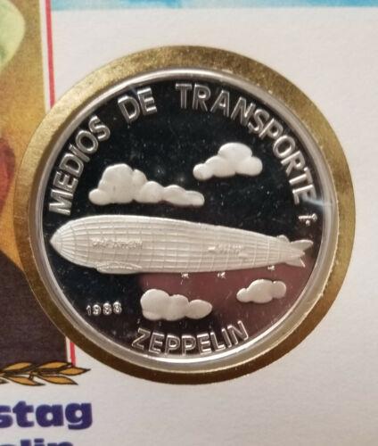 1988 5 Pesos Silver Zeppelin Numisbrief Numismatic card. Caribbean