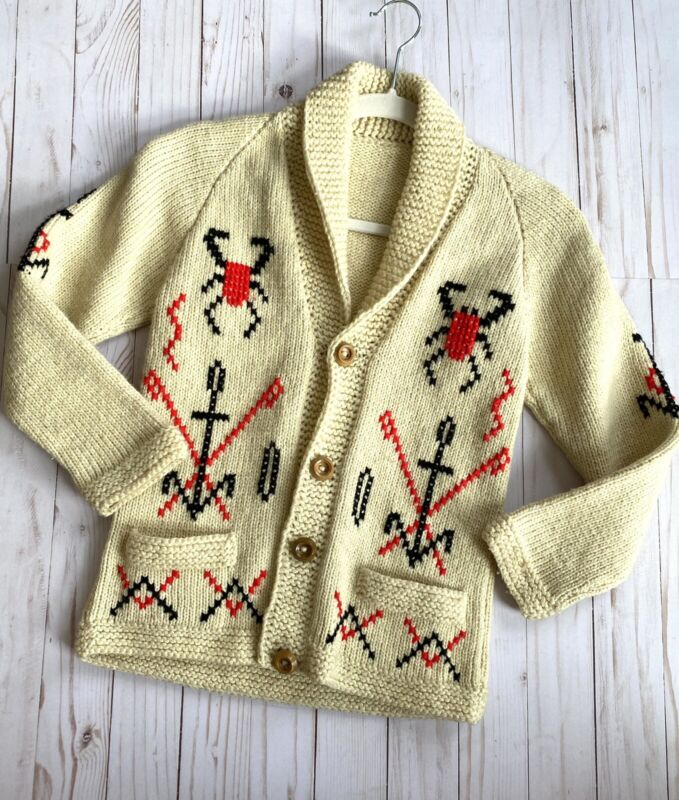 Vintage Cowichan Indian Wool Cardigan Hand Knitted Sweater 40s 50s