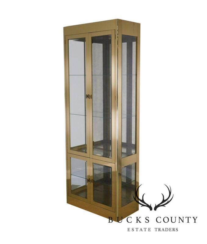 Mastercraft Brass and Glass Lighted Curio Display Vitrine Cabinet