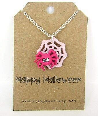 Happy Halloween Cute Pink Spider Silver Plated Message Card Necklace Gift New - Happy Halloween Card Messages
