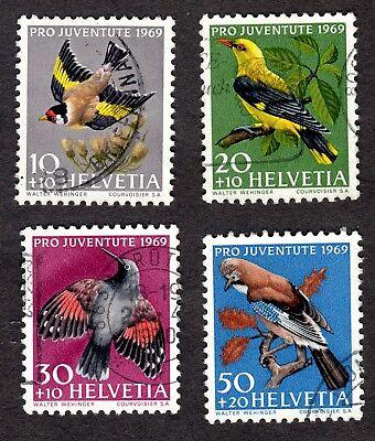 Switzerland: PRO JUVENTUTE 1969 Children's Fund; Birds; compl. set fine used