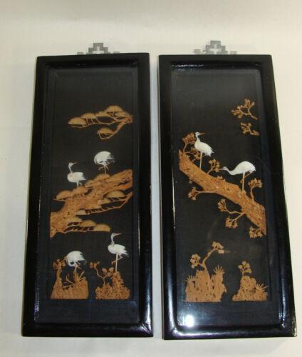 "Asian Sandhill Cranes CORK CARVED ART Wall Hangings 5x11"" Japan Chinese Dioramas"