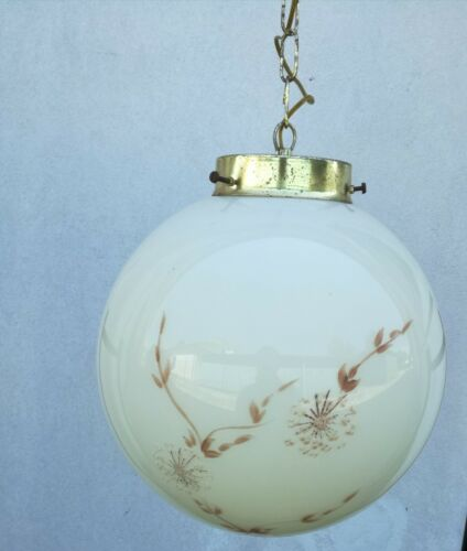 Chandelier Ball Years 60 Glass Murano Hand Painted Lamp Suspension