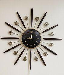 Robert Shaw Lux Mid Century Modern Starburst Wall Clock