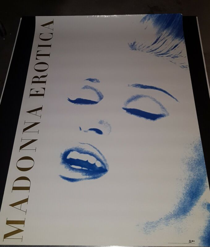 MADONNA EROTICA  PROMO ONLY POSTER STRIKING GOLD PRINT ON BLUE ICONIC IMAGE 94