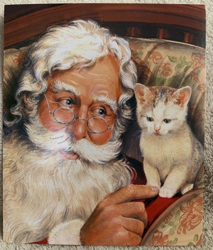IMAGE ARTS 15 CHRISTMAS CARDS w/ENVELOPES ~ Santa & Kitten