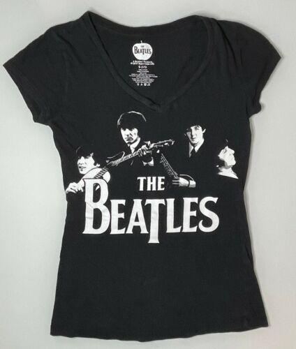 Officially Licensed The Beatles Black V Neck Short Sleeve T Shirt Size S