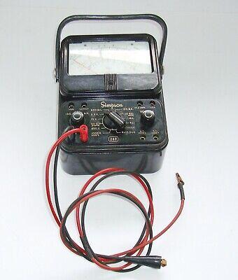 Vintage Simpson Model 260 Analog Meter Multimeter With Leads