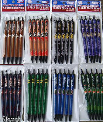 Ncaa College Team Click Pens   5 Pack   Black Ink Official Licensed