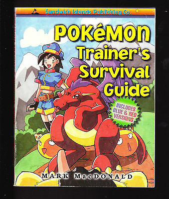 1998 POKEMON TRAINER'S SURVIVAL BLUE & RED GUIDE 1st ED SANDWICH ISLANDS OOP NOS