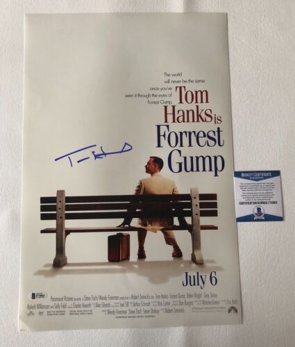 TOM HANKS SIGNED 'FORREST GUMP' 12X18 PHOTO AUTHENTIC AUTOGRAPH BECKETT BAS COA