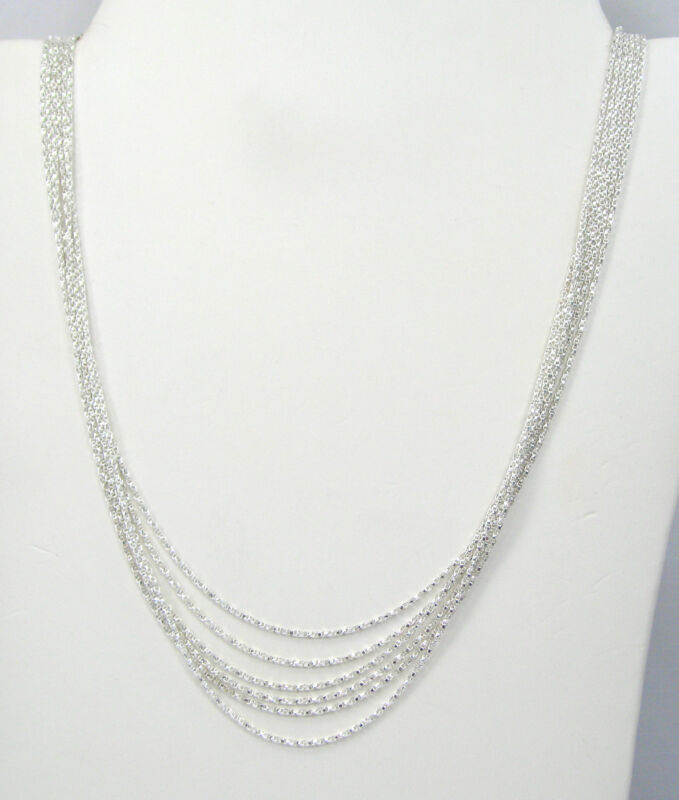 """Wholesale Lot of 6 Chain Twist Box SOLID Sterling Silver 18"""" Necklaces F417"""