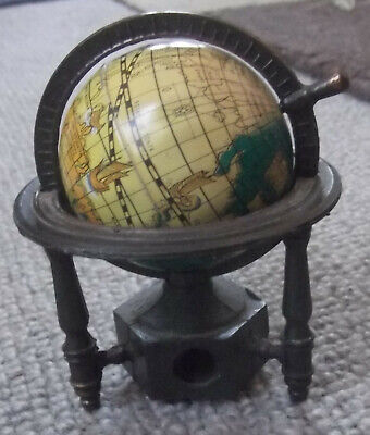 VINTAGE, SOLID METAL MINIATURE, ANCIENT MAP WORLD GLOBE PENCIL SHARPENER - FAB ! for sale  Shipping to Nigeria