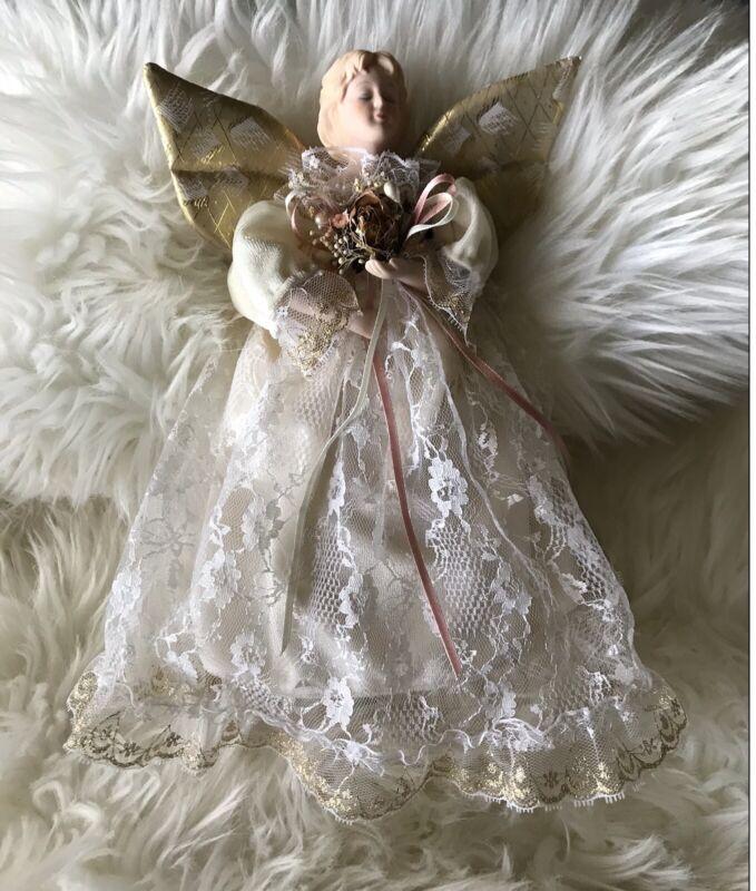 """Vintage Roman Angel Tree Topper 10"""" Porcelian Head & Hands Lace Dress"""