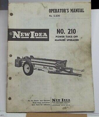 New Idea Equipment Operators Manual No 210 Manure Spreader Power Take-off
