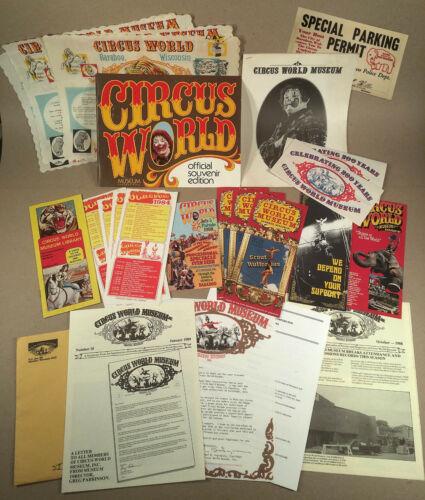 Baraboo WI: Huge Lot 1960s+ Vntg CIRCUS WORLD & OTHER CIRCUS CAPITAL MEMORABILIA