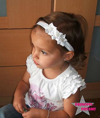 Princess-Dreams Baby Mädchen Reborn Haarband Stirnband weiß Blume Hochzeit/Taufe