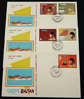 Bhutan 1974 FDC 583-587 Krönung von König Jigme Singye Wangchuk Drachenkönig