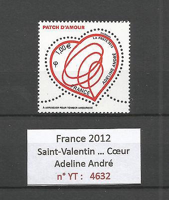FRANCE 2012...HEART...Saint-Valentin...ADELINE ANDRE...YT 4632...MNH **
