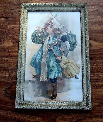 "Antique Victorian Lithograph Art Print - Girl - Dog - Doll - 17.5 x 11.5"" Framed"