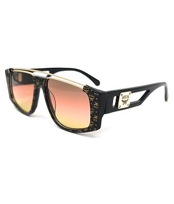 MCM Sunglasses MCM670S 006 Black Visetos Modified Rectangle Unisex 55x16x145