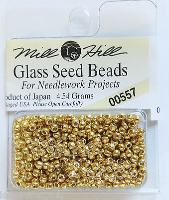 NEW Mill Hill Glass Seed Beads 4.5 grams 2.5mm, GOLD #00557