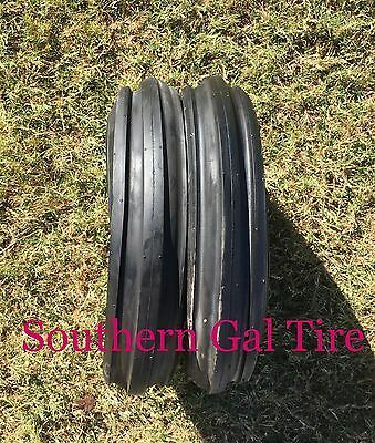 Two 350-8 Deestone Tri Rib 4ply 350x8 3.50-8 3 Rib Tractor Tires With Tubes