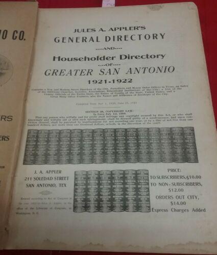 Orig. 1921-22 Appler's San Antonio Texas City Directory Alamo Iron Works SAMSCO