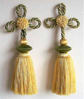 "2 Houles Paris Tassels, Gold/Yellow, Green, Ivory Colors, 11-1/4"" long, Gorgeous"