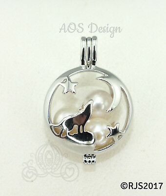 Wolf Howling At The Moon Stars Pearl Cage Locket Pendant Silhouette Charm Only