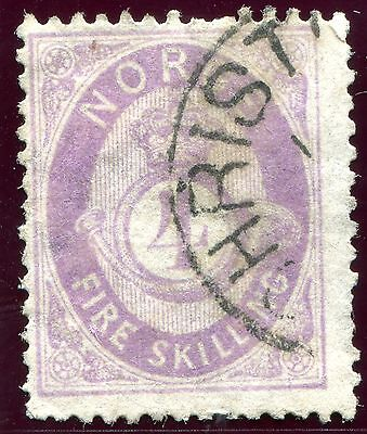 1871/5 - NORWAY - 4Sk MAUVE, USED