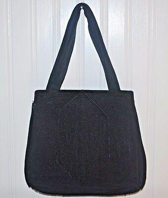 1940s Handbags and Purses History Antique Corde Purse 1940's Black Fabric Kiss lock Frame Great Bag $38.21 AT vintagedancer.com