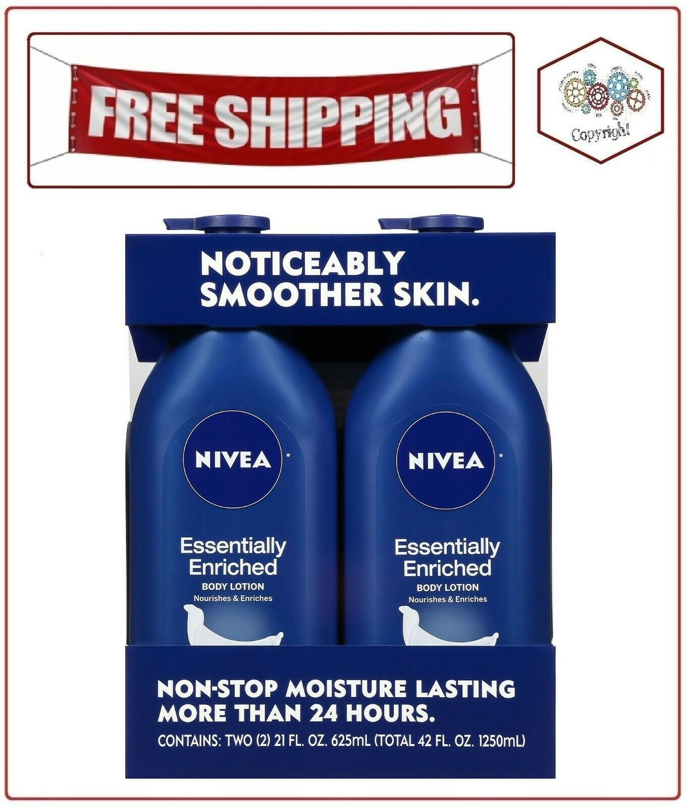NIVEA Essentially Enriched Body Lotion,Hydra IQ Plus, 2 Bott