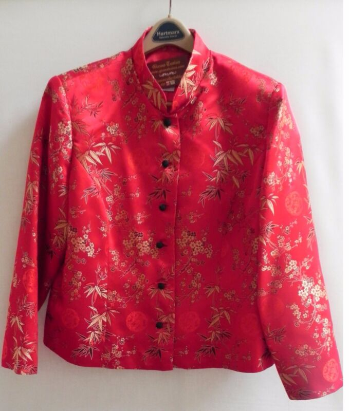"Asian Chinese Oriental Jacket Chinese Red ""BEAUTIFUL"""