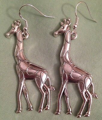 GIRAFFE EARRINGS - Pewter with Sterling Silver Ear Wires (or GP)