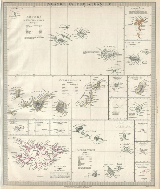 1836 S.D.U.K. Map of the Islands in the Atlantic Ocean