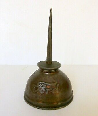 Vintage Ford Thumb Oil Can Embossed Script Lettering